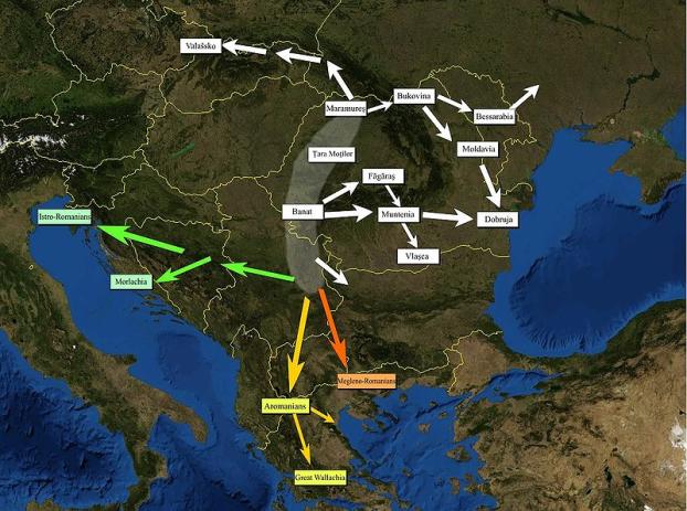 Предполагаемые пути миграции валашского населения по Bogdan Giuşcă, 2005