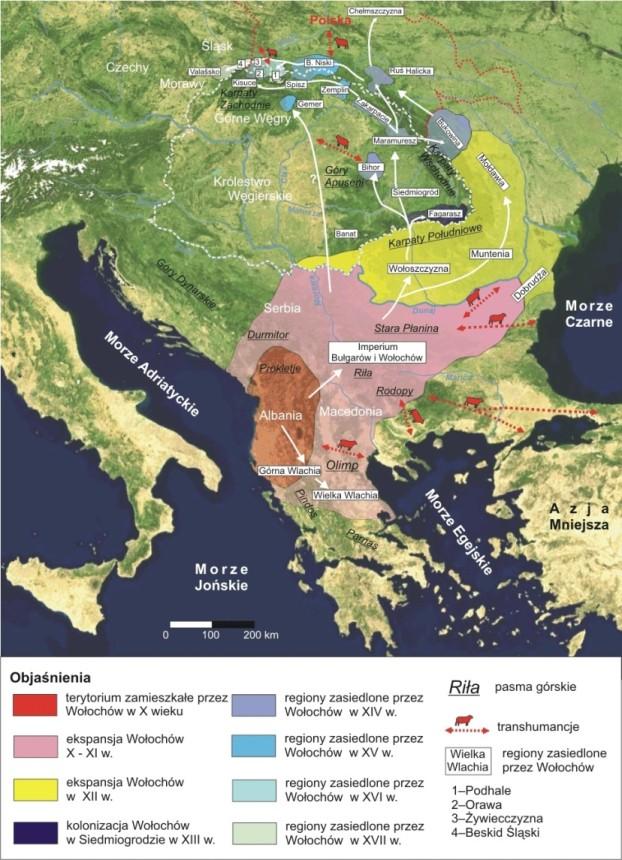 Предполагаемые пути миграции валашского населения по Piotr Kłapyta, 2012