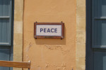 Peace sign on the streets of the divided capital of Cyprus, Nicosia