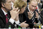 Viktor Yushchenko, Angela Merkel and Vladimir Putin. Source: www.danas.co.yu