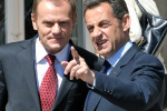 Donald Tusk (left) and Nicolas Sarkozy (right) in Warsaw, 2008