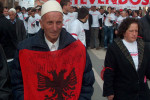 "Protester for the independence of Kosovo calls for the ""Great Albania"". Source: http://www.kosovo.net"